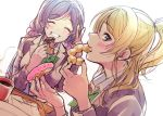 2girls ^_^ ayase_eli blazer blonde_hair blue_eyes blush closed_eyes closed_eyes cup doughnut eating food food_on_face grin hair_ornament hair_scrunchie highres jacket kate_iwana long_hair long_sleeves looking_at_viewer love_live! love_live!_school_idol_project mug multiple_girls otonokizaka_school_uniform pink_scrunchie ponytail purple_hair school_uniform scrunchie sidelocks sketch smile symbol_commentary toujou_nozomi twintails upper_body v white_background