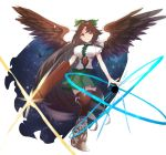 1girl absurdly_long_hair arm_cannon bird_wings black_wings bow breasts brown_hair cape dress energy_ball frills full_body granblue_fantasy_(style) large_breasts long_hair looking_at_viewer puffy_short_sleeves puffy_sleeves red_eyes reiuji_utsuho ribbon shirt short_sleeves sidelocks smile solo thigh-highs third_eye touhou tsukikusa very_long_hair weapon white_background white_cape white_shirt wings