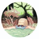 commentary creature creatures_(company) english_commentary game_freak gen_1_pokemon highres nintendo no_humans oliver_hamlin omanyte outdoors plant pokemon pokemon_(creature) shell traditional_media tree water watercolor_(medium)