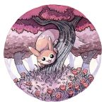 :3 black_eyes creatures_(company) flower forest furret game_freak gen_2_pokemon grass nature nintendo no_humans oliver_hamlin open_mouth outdoors plant pokemon pokemon_(creature) red_flower smile traditional_media tree watercolor_(medium)