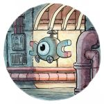 commentary creature creatures_(company) english_commentary english_text floating game_freak gen_1_pokemon highres indoors magnemite nintendo no_humans oliver_hamlin pipe pokemon pokemon_(creature) traditional_media watercolor_(medium)