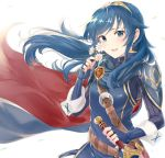 1girl belt blue_eyes blue_gloves blue_hair bodysuit breasts cape cowboy_shot daisy eyebrows_visible_through_hair falchion_(fire_emblem) fingerless_gloves fire_emblem fire_emblem:_kakusei flower gloves hand_on_hilt haru_(nakajou-28) intelligent_systems leaf long_hair long_sleeves looking_at_viewer lucina nintendo open_mouth ribbed_bodysuit shoulder_armor shoulder_strap simple_background small_breasts smile sword symbol-shaped_pupils tiara turtleneck weapon white_background wind