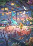 1girl animal brown_hair candle cat chair dog hanging_plant highres kitsu+3 lantern long_hair looking_away mushroom night original plant potted_plant scenery sky standing star_(sky) starry_sky table tree water