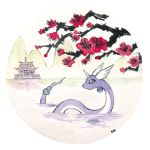 building cherry_blossoms commentary creature creatures_(company) dragonair english_commentary game_freak gen_1_pokemon highres horn mountain nintendo no_humans oliver_hamlin plant pokemon pokemon_(creature) profile reflection traditional_media tree water watercolor_(medium) white_sky