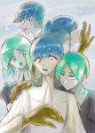 5others androgynous angry bangs blue_eyes blue_hair blunt_bangs cracked crazy_eyes crystal_hair expressionless eyebrows_visible_through_hair gem_uniform_(houseki_no_kuni) golden_arms green_eyes green_hair hand_on_another's_shoulder happy heterochromia highres houseki_no_kuni long_hair looking_at_another multiple_others multiple_persona necktie open_mouth phosphophyllite phosphophyllite_(ll) ponytail short_hair smile spoilers sweatdrop upper_body white_eyes