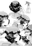 1girl adjusting_another's_hair akiyama_yukari barber blush bottle closed_eyes comb combing disembodied_hands disembodied_limb doujinshi ear from_side girls_und_panzer hand_in_another's_hair hand_on_another's_head heavy_breathing highres hirota_masatane leaning_forward looking_back messy_hair monochrome multiple_views screentones short_hair sitting smile spray_bottle sweat trembling white_background