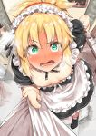 1girl ahoge apron bangs black_footwear blonde_hair blush body_mahattaya_ginga braid breasts detached_collar dress eyebrows_visible_through_hair fate_(series) green_eyes hair_intakes hand_on_hip highres indoors long_hair looking_at_viewer maid mordred_(fate)_(all) open_mouth ponytail pov puffy_short_sleeves puffy_sleeves scrunchie shirt_grab short_sleeves small_breasts steam sweat