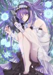 1girl ass bare_shoulders barefoot black_panties bracelet dress euryale fate/hollow_ataraxia fate_(series) flower hairband jewelry knees_to_chest lolita_hairband long_hair looking_at_viewer panties purple_hair solo takubon_(xewh4773) tears twintails underwear very_long_hair white_eyes