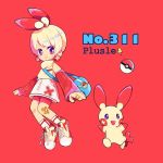 1girl bag bandaid blonde_hair character_name creature_and_personification creatures_(company) full_body game_freak gen_3_pokemon long_sleeves mameeekueya nintendo number personification plusle pocket poke_ball poke_ball_(generic) pokemon pokemon_(creature) pokemon_number red_background red_eyes red_shorts shoes short_hair shorts shoulder_bag simple_background smile socks zipper zipper_pull_tab