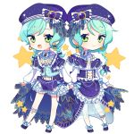 2girls :d alternate_hairstyle aqua_hair ascot bang_dream! beret blue_bow blue_headwear blue_neckwear blush bow bow_footwear bowtie braid brooch constellation_hair_ornament constellation_print double-breasted earrings frilled_shirt_collar frills full_body green_eyes hand_holding hat hat_bow highres hikawa_hina hikawa_sayo hinakano_h jewelry leg_strap long_hair long_sleeves looking_at_viewer medium_hair multiple_girls navy_blue_footwear open_mouth overskirt shoes siblings single_braid sisters skirt_hold smile standing star starry_sky_print striped transparent_background twin_braids twins vertical_stripes