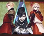 3boys black_gloves black_hair blonde_hair blue_eyes brown_cape cape copyright_name dylan_the_island_king ethan_the_exiled_hero facial_hair fur_trim gloves highres holding holding_sword holding_weapon looking_at_viewer male_focus moyatar03 multiple_boys open_mouth oscar_the_frozen_sea_admiral pixiv_fantasia pixiv_fantasia_last_saga red_eyes serious standing stubble sword upper_body weapon