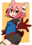 1girl 7th_dragon 7th_dragon_(series) :d animal_ear_fluff animal_ears ass bangs bike_shorts black_shorts blue_jacket blush breasts cat_ears commentary_request eyebrows_visible_through_hair fang gloves green_eyes hair_between_eyes hair_bobbles hair_ornament harukara_(7th_dragon) highres jacket long_sleeves looking_at_viewer looking_back naga_u one_side_up open_mouth orange_background pink_hair red_gloves short_shorts shorts small_breasts smile solo striped striped_legwear thigh-highs two-tone_background white_background