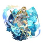 1girl aqua_eyes blonde_hair cape crossover crown dragalia_lost dress fire_emblem fire_emblem_heroes fjorm_(fire_emblem_heroes) full_body holding holding_spear holding_weapon ice multicolored multicolored_clothes multicolored_footwear multicolored_legwear nintendo non-web_source official_art polearm reflection reflective_floor short_dress shoulder_pads smile snowflakes solo spear transparent_background weapon