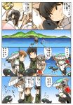 4girls angry bangs bed black_hair blue_sky blunt_bangs blush_stickers bodysuit braid brown_eyes brown_hair building cape comic detached_sleeves gloves green_eyes grey_hair ha-class_destroyer hair_ribbon haruna_(kantai_collection) hat headgear highres hisahiko hug i-class_destroyer kantai_collection kitakami_(kantai_collection) long_sleeves looking_away mountain multiple_girls neckerchief ni-class_destroyer nontraditional_miko ocean ooi_(kantai_collection) open_mouth orange_eyes outstretched_arm outstretched_arms pajamas pillow pleated_skirt ribbon ro-class_destroyer shinkaisei-kan sidelocks skirt sky sleeping smile spread_arms squatting standing standing_on_liquid tentacle thought_bubble translation_request under_covers violet_eyes wide_sleeves wo-class_aircraft_carrier