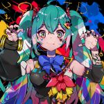 aqua_eyes aqua_hair arm_tattoo bare_shoulders black_nails blue_bow blue_neckwear bow bowtie claw_pose detached_sleeves facepaint fang hair_bow hair_ornament hands_up hatsune_miku headphones hello_(706898515) highres magical_mirai_(vocaloid) multicolored multicolored_eyes multicolored_hair nail_polish red_bow skin_fang sleeveless smirk tattoo twintails upper_body vocaloid yellow_bow