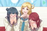 3girls aida_rikako ascii_media_works banner black_hair blonde_hair blush bushiroad derivative_work embarrassed face_in_hands gamjolno guilty_kiss_(love_live!) hair_rings head_in_hand heart heart_hands highres kobayashi_aika long_hair love_live! love_live!_sunshine!! multiple_girls ohara_mari real_life redhead sakurauchi_riko school_uniform screencap_redraw seiyuu_connection seiyuu_joke side_bun suzuki_aina_(seiyuu) tokyo_mx tsushima_yoshiko uranohoshi_school_uniform yuri