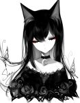 1girl absurdres animal_ears artist_name bangs black_choker bug butterfly cat_ears choker closed_eyes crescent crescent_choker cropped_torso dress eyebrows_visible_through_hair facing_viewer hair_between_eyes highres insect limited_palette long_hair off-shoulder_dress off_shoulder original sheya signature simple_background solo spot_color upper_body white_background