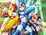 3boys android arm_cannon axl blonde_hair blue_eyes brown_hair capcom dual_wielding energy_blade green_eyes grin gun helmet holding holding_weapon kuroshio_(zung-man) long_hair looking_back male_focus multiple_boys ponytail rockman rockman_x scar smile weapon x_(rockman) zero_(rockman)