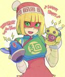 1girl arms_(game) bangs beanie blonde_hair chinese_clothes domino_mask dragon dragon_(arms) facepaint food gloves green_eyes hat hitohito looking_at_viewer mask min_min_(arms) noodles short_hair simple_background smile solo