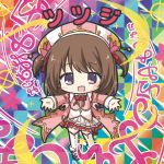 1girl :d bikkuriman bikkuriman_(style) blush bow brown_hair character_name chibi collared_shirt colorful flower flower_knight_girl full_body hair_flower hair_ornament hat iridescent jacket long_hair looking_at_viewer multicolored multicolored_background open_clothes open_jacket open_mouth outstretched_arms parody pink_footwear pink_jacket pleated_skirt red_bow red_flower rinechun shirt shoes skirt smile solo sticker style_parody thigh-highs tsutsuji_(flower_knight_girl) two_side_up violet_eyes white_headwear white_legwear white_shirt white_skirt