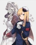 2girls apron blonde_hair buttons closed_eyes closed_mouth fate/grand_order fate_(series) gloves golem green_eyes hair_between_eyes hat looking_at_viewer lord_el-melloi_ii_case_files maid maid_headdress military military_uniform mini_hat multiple_girls nagu parted_lips red_ribbon reines_el-melloi_archisorte ribbon sailor_hat sheath sheathed simple_background smile sword trimmau uniform volumen_hydragyrum weapon white_gloves white_headwear