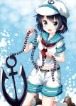 1girl :d anchor anchor_symbol aqua_sailor_collar bangs belt black_hair blue_background blue_eyes blush breasts brown_belt brown_footwear chains commentary_request eyebrows_visible_through_hair hand_up hat highres holding kneehighs kneeling looking_at_viewer midriff_peek murasa_minamitsu neckerchief open_mouth red_neckwear ruu_(tksymkw) sailor_collar sailor_hat sailor_shirt shirt shoes short_hair short_sleeves shorts sidelocks small_breasts smile solo thighs touhou v-shaped_eyebrows white_headwear white_legwear white_shirt white_shorts