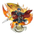 1boy black_gloves blue_eyes blue_hair boots cape crossover dragalia_lost falchion_(fire_emblem) fighting_stance fingerless_gloves fire fire_emblem fire_emblem:_monshou_no_nazo fire_emblem_heroes full_body gloves gold_hairband hairband holding holding_sword holding_weapon intelligent_systems marth nintendo non-web_source official_art pedestal serious sheath shield short_hair shoulder_pads solo super_smash_bros. sword transparent_background weapon