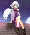 1girl arm_support bangs boots bow bowtie brooch brown_footwear colored_eyelashes commentary_request cross-laced_footwear dress eyebrows_visible_through_hair feathered_wings finger_to_mouth full_moon hair_between_eyes hand_up jacket jewelry kishin_sagume knee_up lace-up_boots long_sleeves looking_at_viewer moon night night_sky open_clothes open_jacket outdoors parted_lips purple_dress red_bow red_eyes red_neckwear rooftop shadow short_dress short_hair silver_hair single_wing sitting sky solo star_(sky) starry_sky touhou uruu_gekka white_jacket wings
