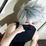 cosplay fk grey_hair hatake_kakashi hatake_kakashi_(cosplay) heterochromia mask naruto naruto_(series) scar silver_hair studios tagme tank_top tattoo
