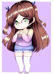 1girl artist_name blush brown_hair chibi dated eyebrows_visible_through_hair freckles glasses green_eyes hands_to_chest long_hair mochii-chan purple_background purple_sweater shorts shy sinamuna smile sneakers solo sweater thigh-highs twintails