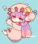 >:( 1girl bangs blue_background blunt_bangs blush blush_stickers bow bun_cover capelet chibi closed_mouth commentary_request crescent crescent_moon_pin dress flying_sweatdrops frown full_body hair_bow hat long_hair long_sleeves looking_at_viewer looking_to_the_side marshmallow_mille mob_cap patchouli_knowledge pink_capelet pink_dress pink_headwear polka_dot polka_dot_background purple_hair red_bow side_bun socks solo touhou trembling twitter_username v-shaped_eyebrows very_long_hair violet_eyes white_legwear