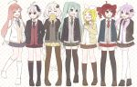 6+girls ahoge aqua_eyes aqua_hair blazer blonde_hair braid bread closed_eyes commentary drill_hair eating flower_(vocaloid) food full_body hair_ornament hatsune_miku holding holding_drink holding_food jacket juice_box kagamine_rin kasane_teto kizuna_akari kneehighs long_hair looking_at_another melon_bread multicolored_hair multiple_girls necktie nekomura_iroha polka_dot polka_dot_background purple_hair red_eyes redhead short_hair short_hair_with_long_locks silver_hair skc skirt smile standing streaked_hair striped striped_neckwear thigh-highs twin_braids twin_drills twintails utau v_flower_(vocaloid4) very_long_hair violet_eyes vocaloid white_hair yuzuki_yukari zettai_ryouiki