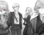 2boys 2girls alternate_costume belt breasts cleavage closed_mouth crossed_arms danno_gs female_my_unit_(fire_emblem:_kakusei) female_my_unit_(fire_emblem_if) fire_emblem fire_emblem:_kakusei fire_emblem_heroes fire_emblem_if gimurei gloves greyscale grin hands_in_pockets highres japanese_clothes knife knife_in_mouth long_hair long_sleeves male_my_unit_(fire_emblem:_kakusei) male_my_unit_(fire_emblem_if) monochrome multiple_boys multiple_girls my_unit_(fire_emblem:_kakusei) my_unit_(fire_emblem_if) nintendo open_mouth pants pointy_ears red_eyes short_hair simple_background smile spot_color twintails twitter_username white_background