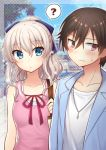 1boy 1girl :/ ? alternate_costume arm_at_side bag blue_shirt blue_sky blurry blush bow breasts brown_eyes brown_hair charlotte_(anime) collarbone commentary_request day depth_of_field eyebrows_visible_through_hair frown hair_between_eyes hair_bow handbag head_tilt jewelry looking_away nakamura_hinato necklace open_clothes open_shirt otosaka_yuu outdoors pink_shirt polka_dot polka_dot_background ponytail red_ribbon ribbon shirt shirt_under_shirt sideways_glance silver_hair sky sleeveless sleeveless_shirt small_breasts sparkle spoken_question_mark sweatdrop tomori_nao tree upper_body white_shirt