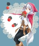 1girl animal_ears apple belt belt_pouch black_hair black_pants brown_gloves fire_emblem fire_emblem_if food fruit gloves grey_hair holding hood hood_up long_hair long_sleeves multicolored_hair nintendo open_mouth pants pouch red_eyes solo streaked_hair tail velour_(fire_emblem_if) wolf_ears wolf_tail yuyu_(spika)