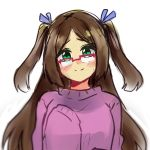 1girl blush brown_hair glasses gomiko-art green_eyes hair_ribbons hand_to_chest long_hair original oversized_clothes purple_sweater shy sinamuna_(character) sleeves_past_wrists smile solo sweater twintails