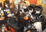 absurdres akizuki_(kantai_collection) alcohol bar beer beer_mug black_bodysuit black_gloves black_hair blush bodysuit brown_hair chopsticks drooling edel_(edelcat) elbow_gloves food furnace gloves hair_flaps hatsuzuki_(kantai_collection) headband headgear highres hot kaga_(kantai_collection) kantai_collection log long_hair nagato_(kantai_collection) neckerchief pot remodel_(kantai_collection) rudder_footwear school_uniform serafuku short_hair steam stove suzutsuki_(kantai_collection) tears teruzuki_(kantai_collection) yuudachi_(kantai_collection)