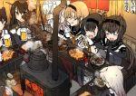 absurdres akizuki_(kantai_collection) alcohol bar beer beer_mug black_bodysuit black_gloves black_hair blush bodysuit brown_hair chopsticks drooling edel_(edelcat) elbow_gloves food furnace gloves hair_flaps hatsuzuki_(kantai_collection) headband headgear highres hot kaga_(kantai_collection) kantai_collection log long_hair nagato_(kantai_collection) neckerchief pot remodel_(kantai_collection) rudder_footwear school_uniform serafuku short_hair steam stove suzutsuki_(kantai_collection) tears teruzuki_(kantai_collection) yuudachi_(kantai_collection)
