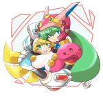 2girls android bangs blonde_hair blue_eyes blush breasts capcom cinnamon closed_mouth dated green_eyes green_hair hat headgear helmet hug large_breasts long_hair looking_at_viewer marino multiple_girls nurse nurse_cap open_mouth robot_ears rockman rockman_x rockman_x_command_mission signature smile tobitori x_(rockman) yuri