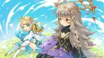 2girls blonde_hair blue_eyes blue_hair blue_sky bug butterfly closed_eyes closed_mouth company_name copyright_name crossover crown dragalia_lost dragon feather_trim fire_emblem fire_emblem_heroes fjorm_(fire_emblem_heroes) flower gradient_hair grass grey_hair hair_ornament insect long_hair long_sleeves multicolored_hair multiple_girls nintendo official_art open_mouth red_eyes sitting sky sleeping veronica_(fire_emblem)