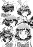 ._. /\/\/\ 1girl :o =_= akiyama_yukari alternate_hairstyle blush camouflage_shirt closed_eyes collarbone doujinshi drying drying_hair ear girls_und_panzer hair_brush hair_brushing hair_down hair_dryer hand_in_another's_hair hand_on_another's_head heart highres hirota_masatane messy_hair monochrome multiple_views petting screentones shirt short_hair short_sleeves shorts sitting smile sparkle sparkling_eyes surprised t-shirt towel towel_around_neck wavy_mouth wide_oval_eyes