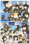 ^_^ bangs bed black_hair blanket blue_sky blunt_bangs bowl braid brown_hair building chasing chopsticks closed_eyes closed_eyes comic eyebrows_visible_through_hair fish flying_sweatdrops green_eyes highres hisahiko holding holding_bowl holding_chopsticks i-class_destroyer kantai_collection kitakami_(kantai_collection) long_sleeves moon nuzzle ooi_(kantai_collection) open_mouth pajamas pet_bed pillow pleated_skirt rigging school_uniform serafuku shinkaisei-kan sidelocks sitting sitting_on_head sitting_on_person skirt sky smile squatting standing standing_on_liquid sun translation_request turret violet_eyes
