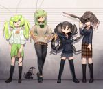 4girls :/ :o \||/ antennae arm_at_side arms_at_sides bangs beige_sweater black_clothes black_eyes black_footwear black_hair black_jacket black_legwear black_sweater blazer bow bowtie braid breasts brown_footwear brown_hair brown_skirt bug buttons closed_mouth clothes_around_waist collared_shirt commentary_request crossed_arms dress_shirt everyone evolvingmonkey extra_eyes flat_chest full_body grasshopper grasshopper_inoue green_hair green_nails green_neckwear green_sweater grey_eyes grey_skirt hair_over_eyes hand_up hands_on_hips height_chart highres insect insect_girl jacket kneehighs light_smile lineup long_hair long_sleeves looking_at_viewer mantis_akiyama medium_breasts multiple_girls nail_polish open_mouth open_palm orange_neckwear original pantyhose parted_bangs partial_commentary plaid plaid_neckwear plaid_skirt pleated_skirt ponytail popped_collar praying_mantis prehensile_hair red_eyes school_uniform scorpion scorpion_tsuchida sharp_teeth shirt shoes short_hair skirt sleeves_folded_up sleeves_past_wrists sneakers spider spider_girl spider_itou standing sweater sweater_around_waist teeth thick_eyebrows thigh-highs twintails two_side_up waving white_shirt wing_collar worms yellow_neckwear
