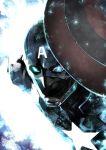 1boy avengers:_endgame blue_eyes captain_america glowing glowing_eyes helmet highres male_focus marvel miwa_shirou shield solo star steve_rogers superhero