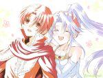 1boy 1girl azel_(fire_emblem) cloak closed_eyes fire_emblem fire_emblem:_seisen_no_keifu hanasaki_komugi hug hug_from_behind nintendo ponytail red_eyes redhead smile tiltyu_(fire_emblem) white_hair