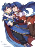 1boy 1girl armor blue_eyes blue_hair blush cape couple dress elbow_gloves fingerless_gloves fire_emblem fire_emblem:_monshou_no_nazo fire_emblem:_shin_monshou_no_nazo gloves hug intelligent_systems kumakosion long_hair love marth nintendo one_eye_closed open_mouth pegasus_knight sheeda short_hair simple_background smile thigh-highs white_background