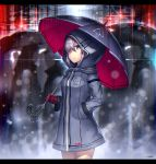 1girl bangs blue_eyes breasts coat cowboy_shot gia hand_in_pocket highres holding holding_umbrella hood hoodie long_sleeves looking_at_viewer mecha_musume mechanical_arm medium_breasts original outdoors prosthesis purple_hair rain raincoat solo standing umbrella