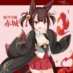+++ 1girl :d akagi-chan_(azur_lane) akagi_(azur_lane) animal_ear_fluff animal_ears azur_lane bell breasts brown_hair commentary_request dated fang fingernails fire fox_ears fox_girl fox_tail hair_bell hair_ornament hands_up hebitsukai-san highres jingle_bell kitsune long_sleeves looking_at_viewer open_mouth pleated_skirt red_eyes red_skirt sidelocks skirt sleeves_past_wrists small_breasts smile solo strapless tail translation_request twitter_username two_side_up