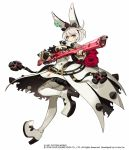 1girl animal_ears black_gloves black_hairband blue_eyes boots collar company_name dated elphelt_valentine fake_animal_ears fingerless_gloves flower full_body gloves guilty_gear gun hairband high_heel_boots high_heels holding holding_gun holding_weapon official_art rose short_hair simple_background smile solo spiked_collar spikes standing thigh-highs thigh_boots watermark weapon white_background white_footwear white_hair yuu_(higashi_no_penguin)