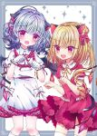 2girls adapted_costume animal_ears bat_wings blonde_hair blue_hair border bow cat_ears cat_tail commentary_request contrapposto cowboy_shot crystal dress eyebrows_visible_through_hair fang flandre_scarlet frilled_shirt_collar frilled_skirt frills gloves hair_between_eyes hair_bow kemonomimi_mode kneehighs layered_dress looking_at_viewer multiple_girls no_headwear open_mouth paw_pose puffy_short_sleeves puffy_sleeves red_dress red_eyes remilia_scarlet rimei short_sleeves siblings side_ponytail sisters skirt sparkle standing tail touhou white_background white_dress white_gloves white_legwear wings